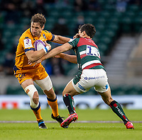 21st May 2021; Twickenham, London, England; European Rugby Challenge Cup Final, Leicester Tigers versus Montpellier; Vincent Rattez of Montpellier Rugby is tackled by Matias Moroni of Leicester Tigers