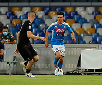 Hirving Lozano of Napoli  during the  italian serie a soccer match,  SSC Napoli - AC Milan       at  the San  Paolo   stadium in Naples  Italy , July 12, 2020