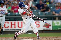 Wearing an Austin Senators throwback uniform, Round Rock Express outfielder Aaron Cunningham (3) swings the bat during the Pacific Coast League baseball game against the Oklahoma City RedHawks on July 9, 2013 at the Dell Diamond in Round Rock, Texas. Round Rock defeated Oklahoma City 11-8. (Andrew Woolley/Four Seam Images)