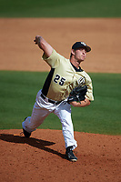 UCF Knights relief pitcher Chris Williams (25) delivers a pitch during a game against the Siena Saints on February 21, 2016 at Jay Bergman Field in Orlando, Florida.  UCF defeated Siena 11-2.  (Mike Janes/Four Seam Images)