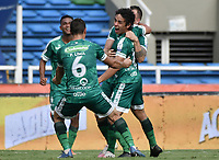 CALI - COLOMBIA, 04-04-2021: Daniel Mantilla de Equidad celebra después de anotar el primer gol de su equipo durante partido por la fecha 17 como parte de la Liga BetPlay DIMAYOR I 2021 entre América de Cali y La Equidad jugado en el estadio Pascual Guerrero de la ciudad de Cali. / Daniel Mantilla of Equidad celebrates after scoring the first goal of his team during match between America de Cali and La Equidad for the date 17 as part of Liga BetPlay DIMAYOR I 2021 played at Pascual Guerrero stadium in Cali city. Photo: VizzorImage / Gabriel Aponte / Staff