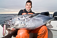 Landing a big Bluefin Tuna, a fish in excess of 100lb is always a challenging task, especially for a young asian man who just started this kind of fishing. The grin on his face shows how rewarding has been such accomplishment