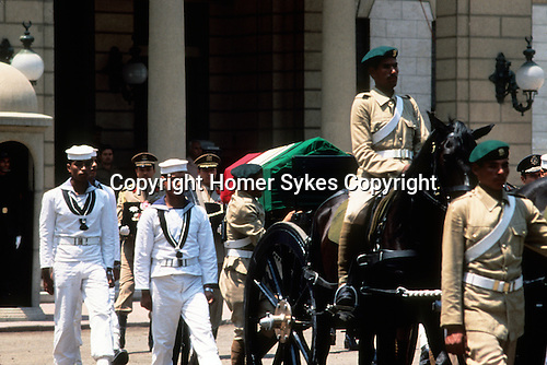 Shah of Iran his state funeral Cairo Egypt. Mohammad Reza Pahlavi, also known as Mohammad Reza Shah. Procession to the Lying in State at the Abdin Palace, Cairo. 1980