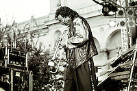 Germany, Hamburg, Jazz port festival 1990, live concert of Jazz musician and trumpet player Miles Davis at Kunstinsel, 30th july 1990, Miles Dewey Davis, american trumpeter, band leader and composer, born 26.5.1926 died 28.09.1991 - photo taken on 35mm black&white negative - copyright Joerg Boethling - IMAGE AVAILABLE AS SIGNED BLACK&WHITE FINE PRINT!