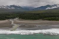 Sea Otter Creek flows into the Gulf of Alaska, Pacific ocean coast, Glacier Bay National Park, Southeast, Alaska