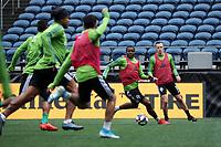 SEATTLE, WA - NOVEMBER 9: Nouhou #5 of the Seattle Sounders FC looks for an open teammate at CenturyLink Field on November 9, 2019 in Seattle, Washington.