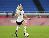 YOKOHAMA, JAPAN - JULY 30: Julie Ertz #8 of the United States controls the ball during a game between Netherlands and USWNT at International Stadium Yokohama on July 30, 2021 in Yokohama, Japan.