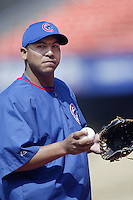 Carlos Zambrano of the Chicago Cubs before a 2002 MLB season game against the Los Angeles Dodgers at Dodger Stadium, in Los Angeles, California. (Larry Goren/Four Seam Images)