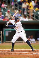 Montgomery Biscuits shortstop Daniel Robertson (4) at bat during a game against the Jackson Generals on April 29, 2015 at Riverwalk Stadium in Montgomery, Alabama.  Jackson defeated Montgomery 4-3.  (Mike Janes/Four Seam Images)