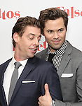 Christian Borle and Andrew Rannells attends the Opening Night After Party for 'Falsettos'  at the New York Hilton Hotel on October 27, 2016 in New York City.