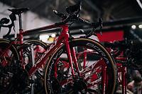 deep red Lotto-Soudal bikes<br /> <br /> 74th Omloop Het Nieuwsblad 2019 <br /> Gent to Ninove (BEL): 200km<br /> <br /> ©kramon