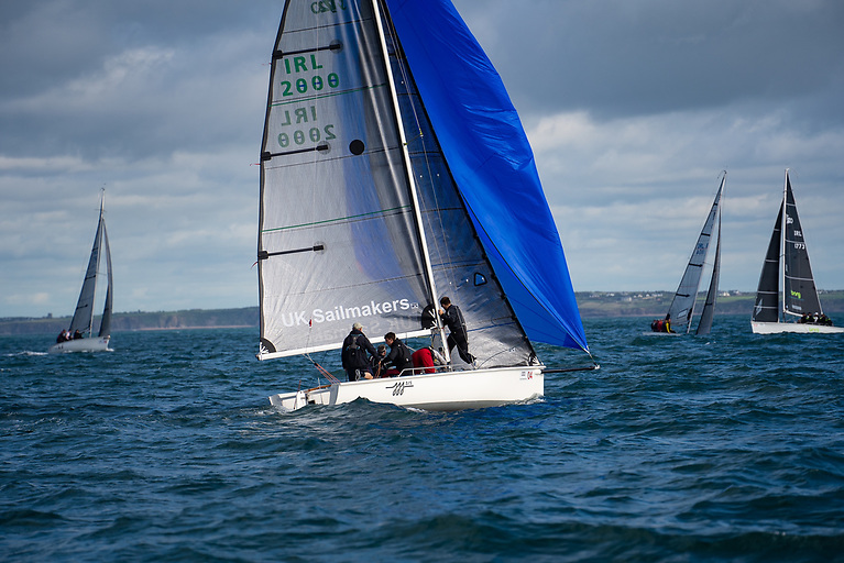 Elder Lemon IRL 2888 Robert Dix setting as he rounds the wing mark and goes on to win race 5 with his XD carbon sails