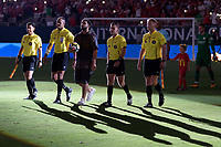 Houston, TX - Thursday July 20, 2017: Rapper Drake brings the ball on the pitch with the referees during a match between Manchester United and Manchester City in the 2017 International Champions Cup at NRG Stadium.