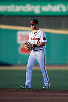 Rochester Red Wings second baseman Taylor Featherston (8) during a game against the Pawtucket Red Sox on May 19, 2018 at Frontier Field in Rochester, New York.  Rochester defeated Pawtucket 2-1.  (Mike Janes/Four Seam Images)