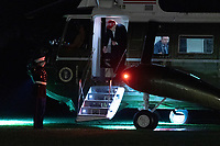 United States President Donald J. Trump steps off Marine One returns to the White House in Washington, DC after attending a political event in Des Moines, Iowa on Wednesday, October 15, 2020.<br /> Credit: Chris Kleponis / Pool via CNP /MdeiaPunch