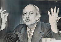 Parti Quebecois leader Rene Levesque, before victory<br /> <br /> 1976<br /> <br /> PHOTO :  Doug Griffin - Toronto Star Archives - AQP