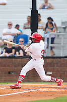 Anthony Ray (3) of the Johnson City Cardinals follows through on his swing against the Elizabethton Twins at Cardinal Park on July 27, 2014 in Johnson City, Tennessee.  The game was suspended in the top of the 5th inning with the Twins leading the Cardinals 7-6.  (Brian Westerholt/Four Seam Images)