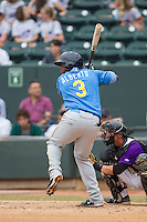 Hanser Alberto (3) of the Myrtle Beach Pelicans at bat against the Winston-Salem Dash at BB&T Ballpark on May 7, 2014 in Winston-Salem, North Carolina.  The Pelicans defeated the Dash 5-4 in 11 innings.  (Brian Westerholt/Four Seam Images)