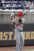 Stony Brook Seawolves outfielder Travis Jankowski #6 in the on deck circle during a game against the East Carolina University Pirates at Clark-LeClair Stadium on March 4, 2012 in Greenville, NC.  East Carolina defeated Stony Brook 4-3. (Robert Gurganus/Four Seam Images)