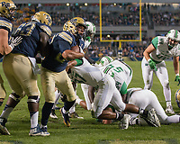 Pitt running back James Conner scores on a 1-yard touchdown run. The Pitt Panthers defeated the Marshall Thundering Herd 43-27 on October 1, 2016 at Heinz Field in Pittsburgh, Pennsylvania.