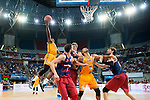 Herbalife Gran Canaria's player Royce O'Neale and Eulis Baez and FC Barcelona Lassa player Pau Ribas, Justin Doellman and Ante Tomic during the final of Supercopa of Liga Endesa Madrid. September 24, Spain. 2016. (ALTERPHOTOS/BorjaB.Hojas)