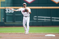 Auburn Tigers shortstop Will Holland (17) makes a throw to first base during Game 7 of the NCAA College World Series against the Louisville Cardinals on June 18, 2019 at TD Ameritrade Park in Omaha, Nebraska. Louisville defeated Auburn 5-3. (Andrew Woolley/Four Seam Images)