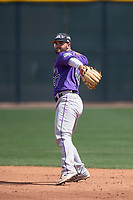 Colorado Rockies second baseman Avery Romero (37) during a Minor League Spring Training game against the Milwaukee Brewers at Salt River Fields at Talking Stick on March 17, 2018 in Scottsdale, Arizona. (Zachary Lucy/Four Seam Images)