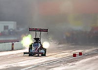 Sep 5, 2020; Clermont, Indiana, United States; NHRA top fuel driver Billy Torrence drives a dragster with the body panels from the car of injured racer Dom Lagana during qualifying for the US Nationals at Lucas Oil Raceway. Mandatory Credit: Mark J. Rebilas-USA TODAY Sports