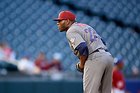 Lehigh Valley IronPigs relief pitcher Hector Neris (23) looks in for the sign during a game against the Buffalo Bisons on June 23, 2018 at Coca-Cola Field in Buffalo, New York.  Lehigh Valley defeated Buffalo 4-1.  (Mike Janes/Four Seam Images)