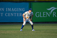 Burlington Royals left fielder Kort Peterson (8) on defense against the Bluefield Blue Jays at Burlington Athletic Stadium on June 28, 2016 in Burlington, North Carolina.  The Royals defeated the Blue Jays 4-0.  (Brian Westerholt/Four Seam Images)