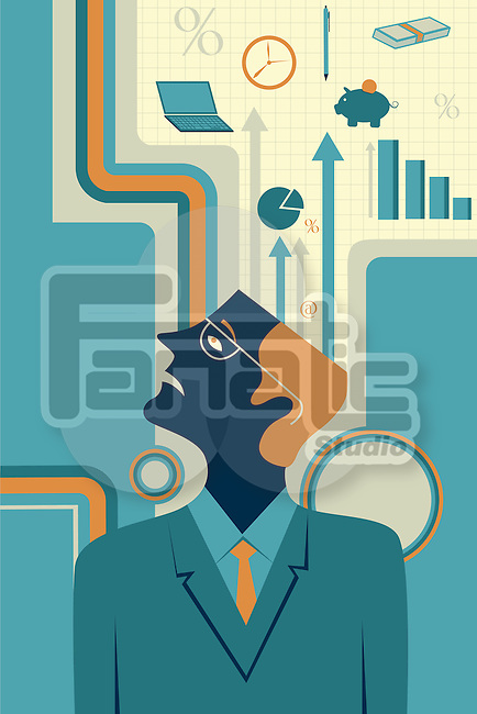 Illustrative image of thoughtful businessman representing business strategy