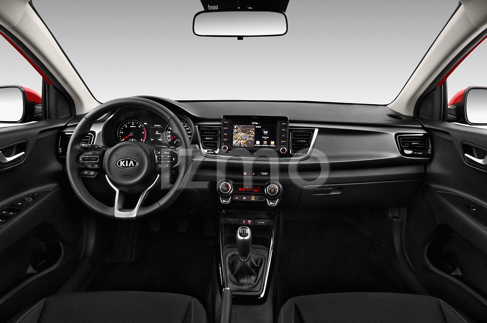 Stock photo of straight dashboard view of 2017 KIA Rio Fusion 5 Door Hatchback Dashboard