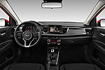 Stock photo of straight dashboard view of 2017 KIA Rio Fusion 5 Door Hatchback Dashboard