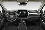Stock photo of straight dashboard view of 2021 Toyota Highlander Premium-Plus 5 Door SUV Dashboard