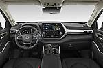 Stock photo of straight dashboard view of 2021 Toyota Highlander Premium-Plus 5 Door SUV Dashboard