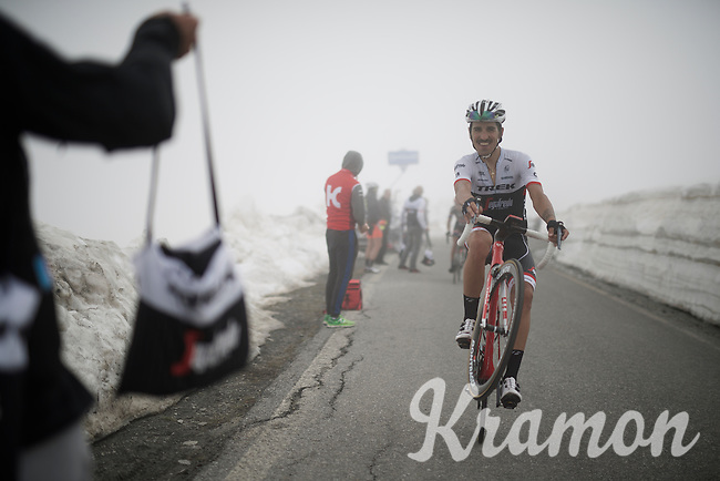 Eugenio Alafaci (ITA/Trek-Segafredo) is so happy to reach the top of the snow-covered Colle dell'Agnello (2744m), that he believes a wheelie is a proper way to celebrate<br /> <br /> stage 19: Pinerolo(IT) - Risoul(FR) 162km<br /> 99th Giro d'Italia 2016