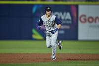 Brady McConnell (13) of the Columbia Fireflies hustles towards third base against the Kannapolis Cannon Ballers at Atrium Health Ballpark on May 18, 2021 in Kannapolis, North Carolina. (Brian Westerholt/Four Seam Images)