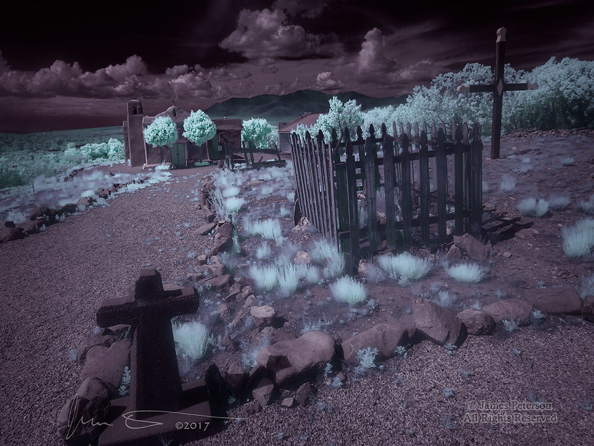 San Francisco de Asis Chapel, Golden, New Mexico (Infrared) ©2017 James D Peterson.  Now considered a ghost town, Golden was once a bustling mining town.  This charming little church, built in 1839 and restored more recently, is one of the few original structures remaining.
