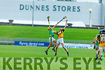 Abbeydorney's Michael O'Leary and John Buckley of Lixnaw tussle for possession in the Senior Hurling Championship quarter final.