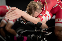 Mikkel Bjerg (DEN/UAE-Emirates) warming down on the rollers post-race backstage<br /> <br /> Mixed Relay TTT <br /> Team Time Trial from Knokke-Heist to Bruges (44.5km)<br /> <br /> UCI Road World Championships - Flanders Belgium 2021<br /> <br /> ©kramon