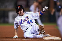 Scottsdale Scorpions third baseman David Thompson (88), of the New York Mets organization, slides into third base during an Arizona Fall League game against the Mesa Solar Sox on October 23, 2017 at Scottsdale Stadium in Scottsdale, Arizona. The Solar Sox defeated the Scorpions 5-2. (Zachary Lucy/Four Seam Images)