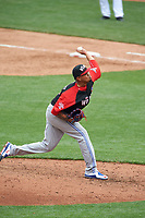 World Team pitcher Jairo Labourt (47) in action during the MLB All-Star Futures Game on July 12, 2015 at Great American Ball Park in Cincinnati, Ohio.  (Mike Janes/Four Seam Images)