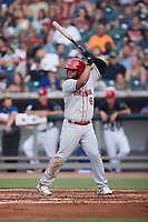 Wilson Garcia (6) of the Chattanooga Lookouts at bat against the Tennessee Smokies at Smokies Stadium on July 31, 2021, in Kodak, Tennessee. (Brian Westerholt/Four Seam Images)