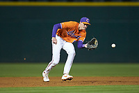 Clemson Tigers shortstop Logan Davidson (8) fields a ground ball during the game against the Charlotte 49ers at BB&T BallPark on March 26, 2019 in Charlotte, North Carolina. The Tigers defeated the 49ers 8-5. (Brian Westerholt/Four Seam Images)