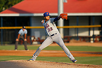 Kingsport Mets pitcher Matt Cleveland (22) on the mound during a game against the Burlington Royals at Burlington Athletic Complex on July 28, 2018 in Burlington, North Carolina. Burlington defeated Kingsport 4-3. (Robert Gurganus/Four Seam Images)