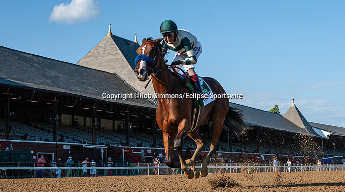 August 8, 2020: GAMINE #5, ridden by John Velazquez, wins the LONGINES Test Stakes on Travers Day at Saratoga Race Course in Saratoga Springs, New York. Rob Simmons/Eclipse Sportswire/CSM