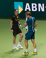 Rotterdam, The Netherlands, 17 Februari, 2018, ABNAMRO World Tennis Tournament, Ahoy, Tennis, David Goffin (BEL), gets a towel from a ballgirl<br /> <br /> Photo: www.tennisimages.com