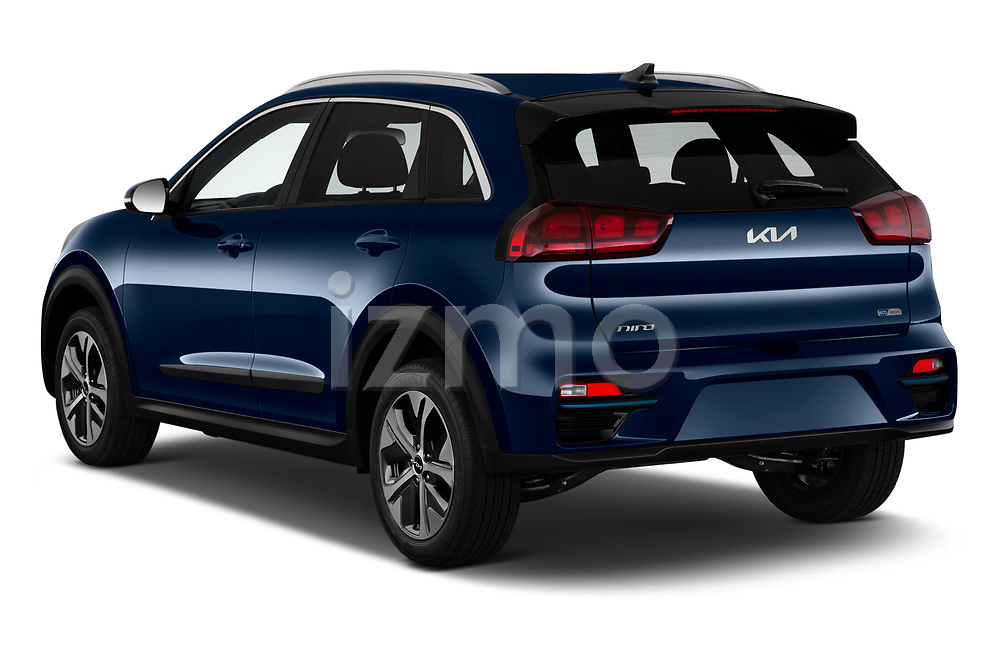 Car pictures of rear three quarter view of 2022 KIA Niro-EV EX 5 Door Hatchback Angular Rear