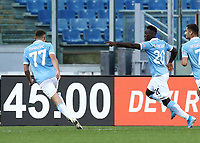 Football, Serie A: S.S. Lazio - Juventus Olympic stadium, Rome, November 8, 2020. <br /> Lazio's Felipe Caicedo (c) celebrates after scoring with his teammates during the Italian Serie A football match between Lazio and Juventus at Olympic stadium in Rome, on November 8, 2020.<br /> UPDATE IMAGES PRESS/Isabella Bonotto