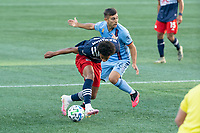 FOXBOROUGH, MA - SEPTEMBER 19: Tajon Buchanan #17 of New England Revolution controls the ball during a game between New York City FC and New England Revolution at Gillette on September 19, 2020 in Foxborough, Massachusetts.